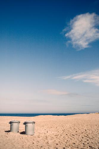 Holidays for two Environment Nature Landscape Elements Sand Water Sky Clouds Horizon Coast Beach Baltic Sea Ocean Surrealism In pairs 2 Trash Trash container