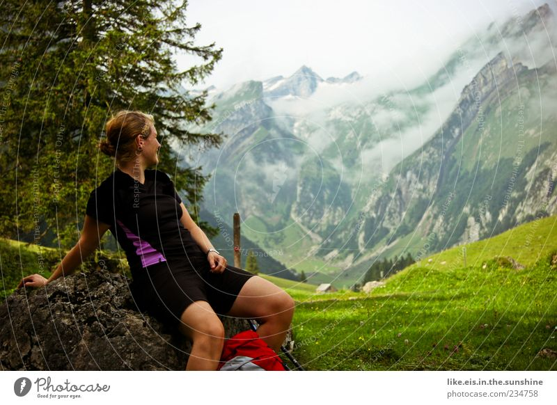 Human being Woman Nature Youth (Young adults) Tree Vacation & Travel Clouds Adults Far-off places Relaxation Environment Landscape Mountain Freedom Grass Rock