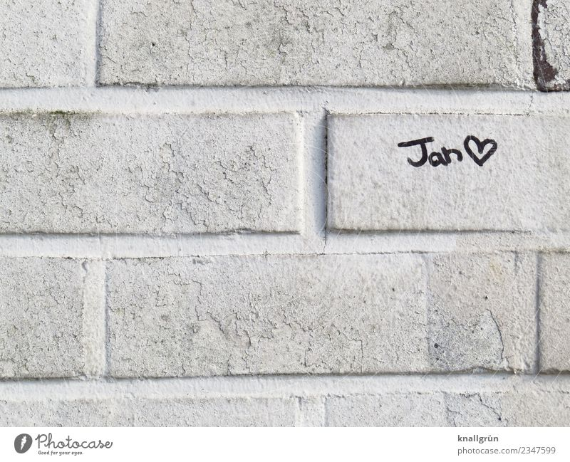 Jan Wall (barrier) Wall (building) Characters Graffiti Heart Communicate Town Black White Emotions Love Infatuation Romance Interest Relationship Friendship