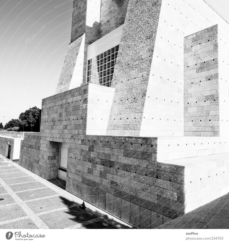 complicated body Museum Lisbon Portugal Architecture Wall (barrier) Wall (building) Facade Stone Modern Geometry Black & white photo Exterior shot Deserted