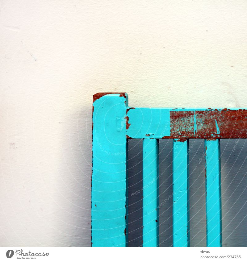 seat catch Varnish Wood Old Blue Yellow Colour Bench Wall (building) Light blue Dye Flake off Plaster back Furniture Colour photo Exterior shot Detail Pattern