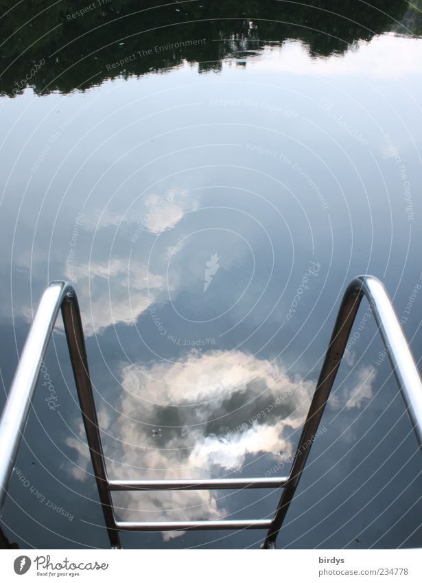 Sky Water Clouds Ladder Surface of water Reflection Pool ladder Water reflection Swimming lake