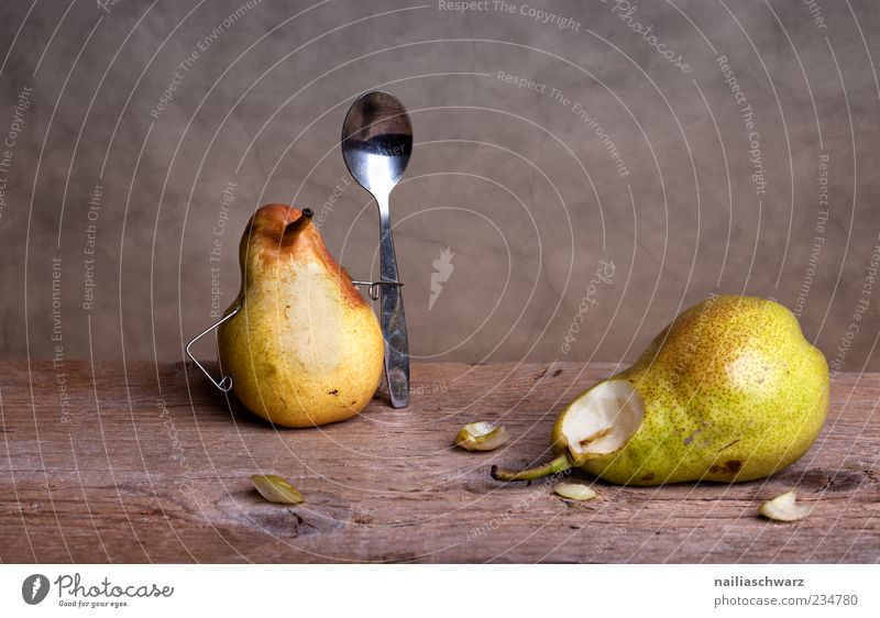 spooned up Food Fruit Pear Crunchy Juicy Nutrition Spoon Wood Metal Lie Esthetic Exceptional Fresh Sweet Brown Yellow Green End Whimsical Colour photo