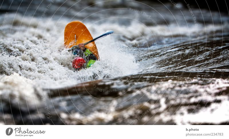 river playing Leisure and hobbies Aquatics Sportsperson Kayak River Paddle Rapid Waves Current Human being Masculine Adults 1 Nature Water Paddling Colour photo