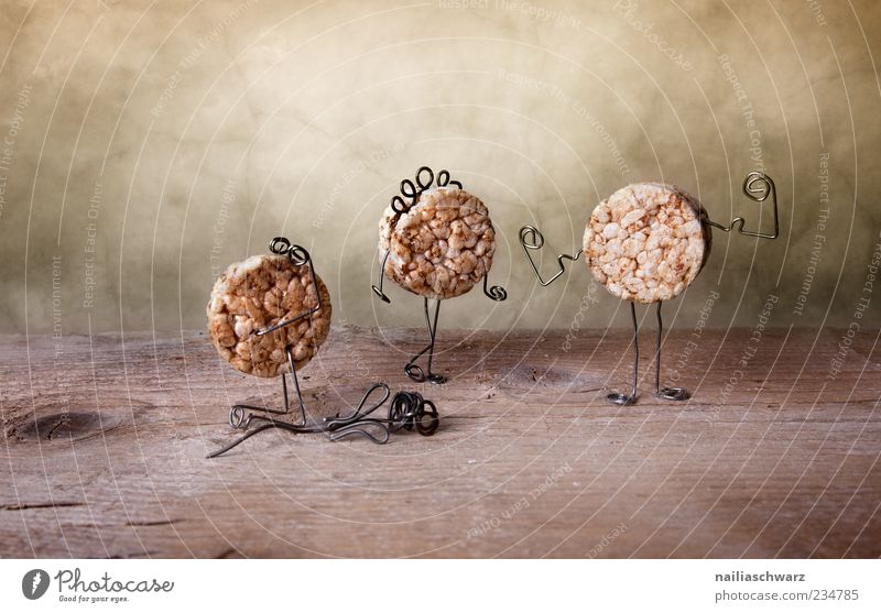 drama Waffle rice waffle Kneel Stand Esthetic Exceptional Brown Emotions Colour photo Interior shot Studio shot Close-up Detail Deserted Copy Space left