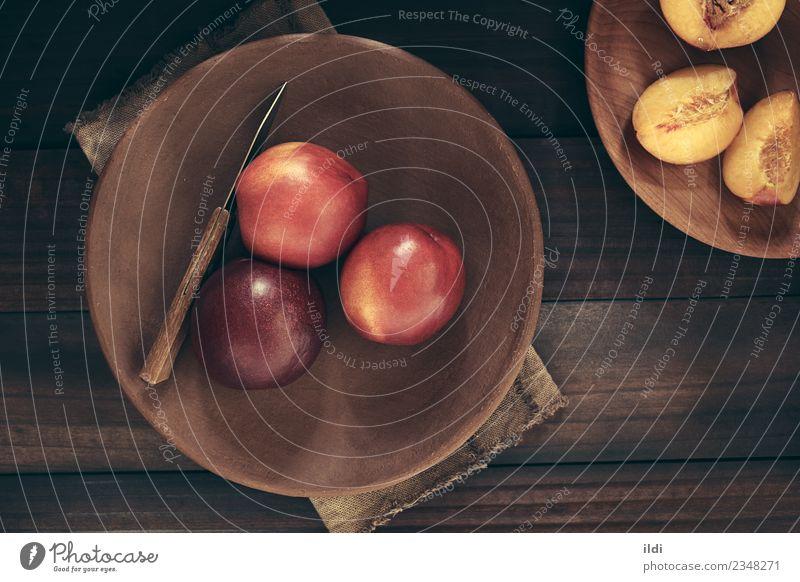 Fresh Ripe Nectarines Fruit Mature Top Half Horizontal Cut Rustic Raw Ingredients Snack Peach