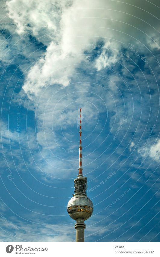 The prettiest Antenna Sky Clouds Beautiful weather Tourist Attraction Landmark Berlin TV Tower Famousness Gigantic Tall Blue Colour photo Subdued colour