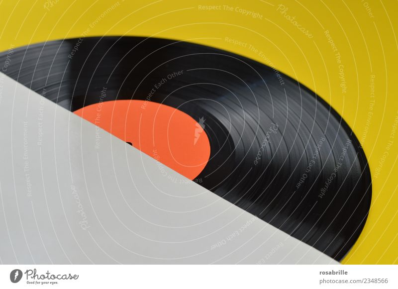 empty white record cover over corner with LP on yellow Leisure and hobbies Night life Party Music Club Disco Disc jockey Going out Feasts & Celebrations Dance
