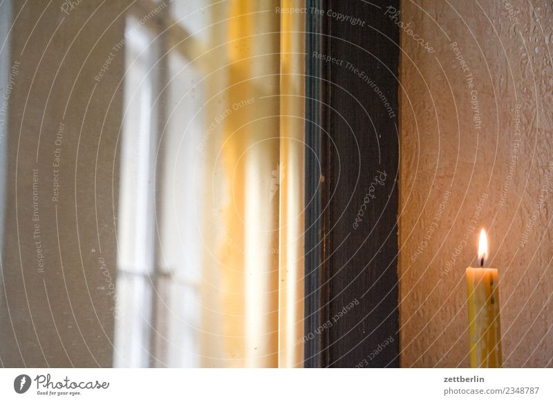 candle Candle stearinkerce Candlelight Flame Candle flame Burn Fire Bright Window Curtain Romance Christmas & Advent Room Interior design Flat (apartment)
