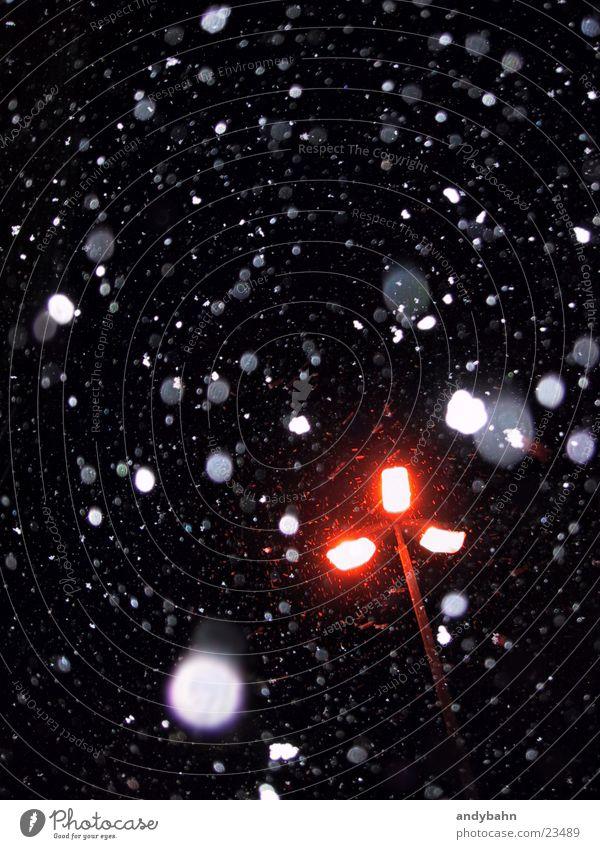 Calm Winter Dark Cold Snowfall Street lighting Flake Trickle