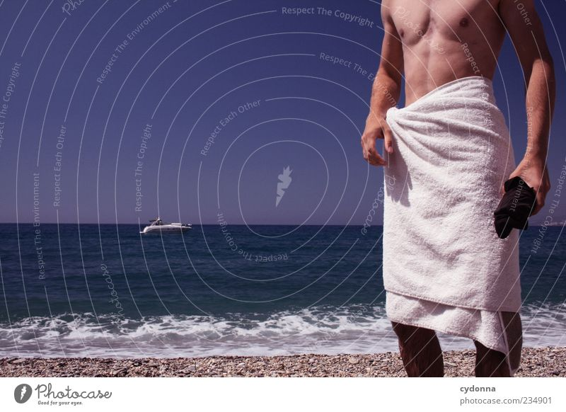Man with boat Lifestyle Well-being Relaxation Calm Vacation & Travel Tourism Trip Far-off places Freedom Human being Young man Youth (Young adults)