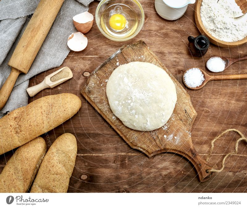 yeast dough Food Dough Baked goods Bread Roll Bowl Table Kitchen Wood Fresh Natural Brown White Yeast background Preparation Ingredients cooking Raw recipe