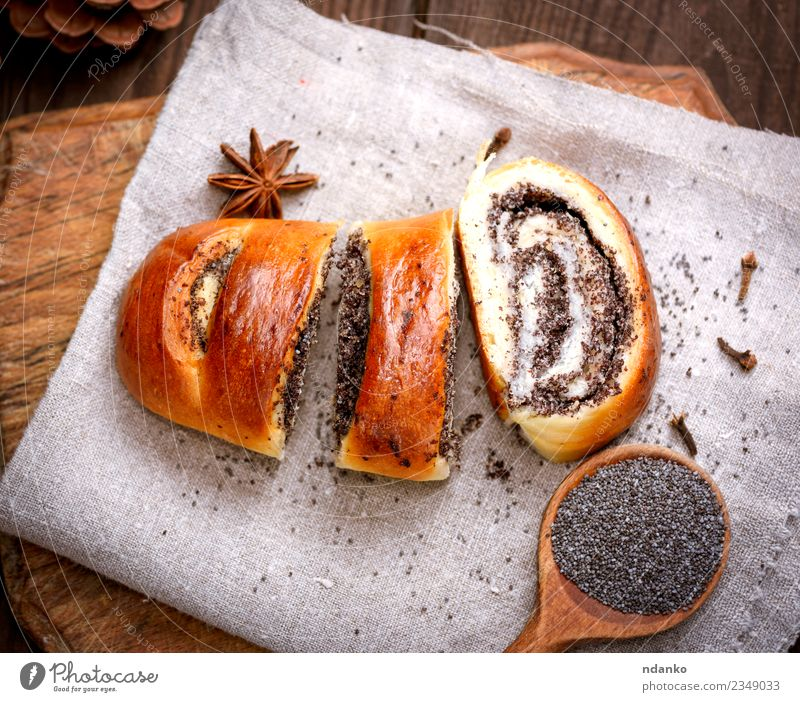 baked roll with poppy seeds Bread Dessert Spoon Table Wood Eating Fresh Delicious Above Brown Tradition biscuit Chopping board Home-made Cut Rustic Baked goods