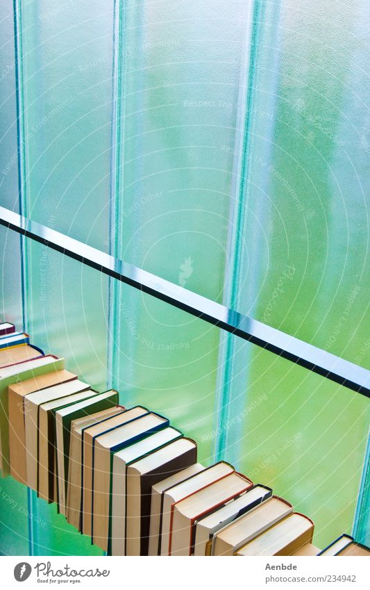 Blue Green Window Book Fresh Paper Diagonal Print media Minimalistic Printed Matter Media Bookshelf