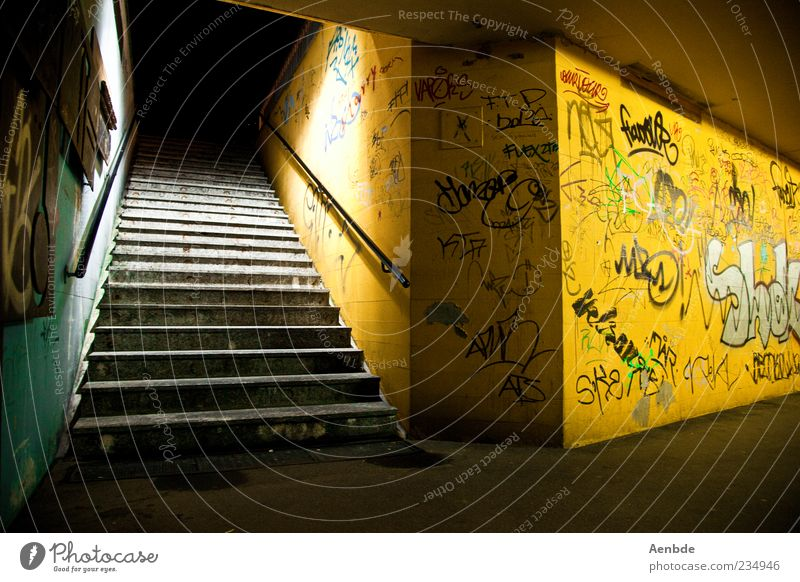 potential scene Deserted Old Authentic Dirty Creepy Cold Gloomy Yellow Loneliness Fear Underpass Stairs Graffiti Handrail Colour photo Interior shot