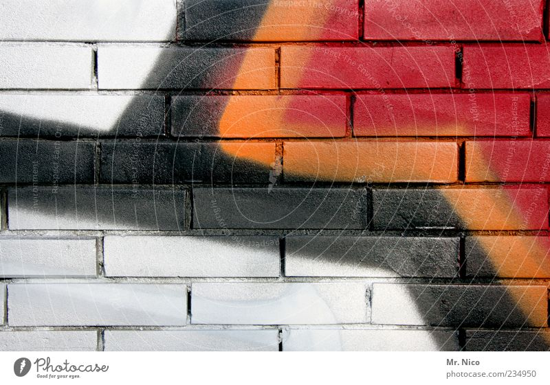 White Red Black Wall (building) Graffiti Dye Happy Wall (barrier) Art Line Background picture Facade Creativity Painting and drawing (object) Copy Space Seam