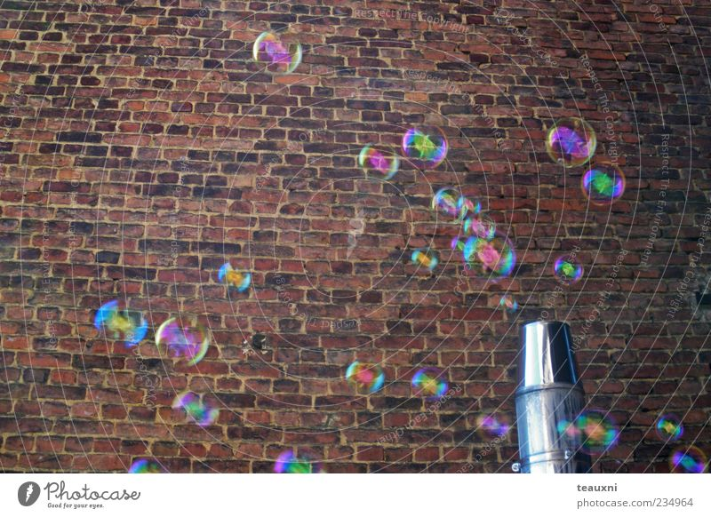 Wall (building) Wall (barrier) Stone Background picture Flying Happiness Transience Hover Soap bubble Glimmer Brick wall