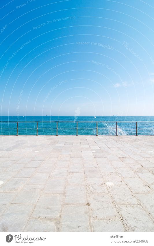 Water Ocean Summer Calm Far-off places Relaxation Drops of water Beautiful weather Handrail Cloudless sky Inject Portugal Atlantic Ocean Maritime Paving tiles