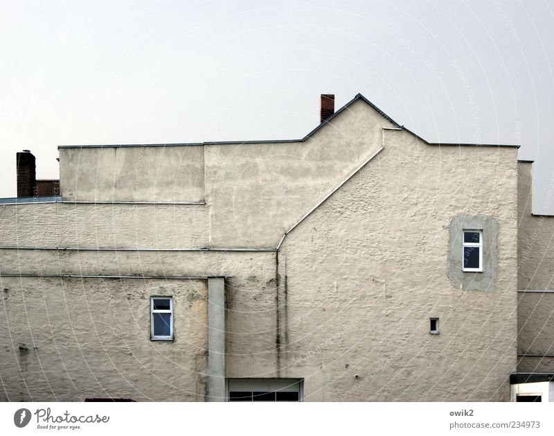 Sky Blue White House (Residential Structure) Window Wall (building) Architecture Gray Wall (barrier) Building Line Bright Facade Telephone Gloomy Point