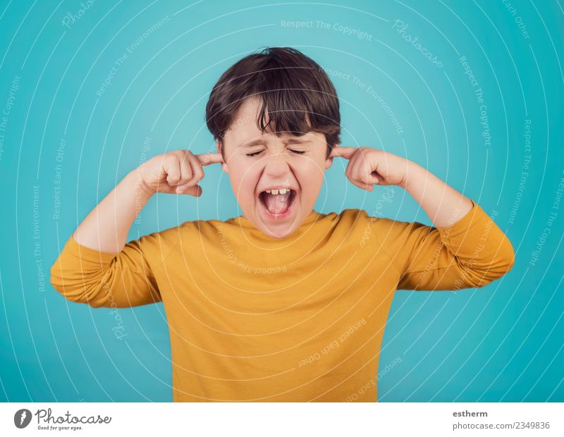 portrait of a Screaming little boy covering ears with hands Child Human being Lifestyle To talk Emotions Boy (child) Moody Fear Infancy Fitness Threat Grief