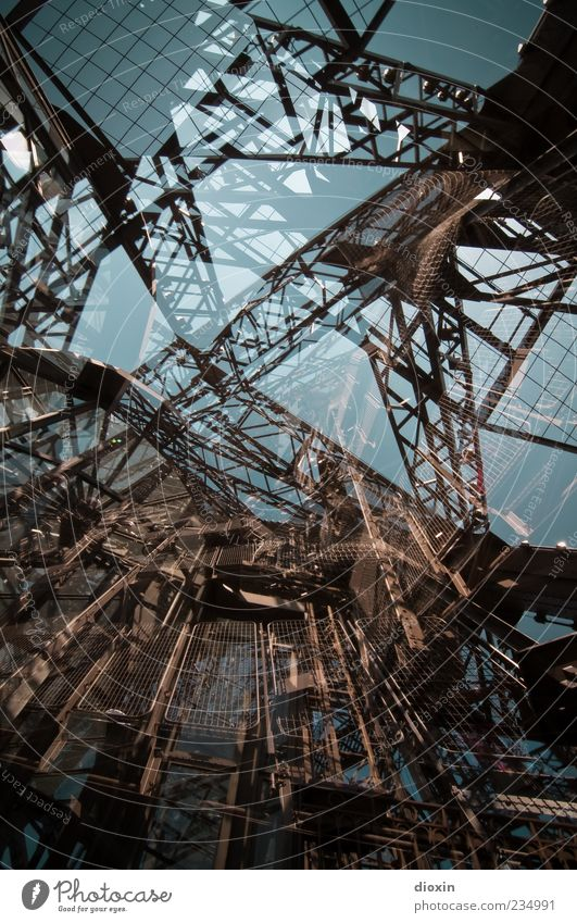 Architecture Large Exceptional Crazy Tower Manmade structures Paris Monument Steel Whimsical Chaos Landmark Muddled Double exposure Tourist Attraction