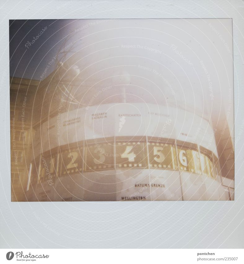 Vacation & Travel Time Tourism Clock Digits and numbers Rotate Landmark Downtown Sightseeing Capital city Tourist Attraction Alexanderplatz New Zealand Polaroid