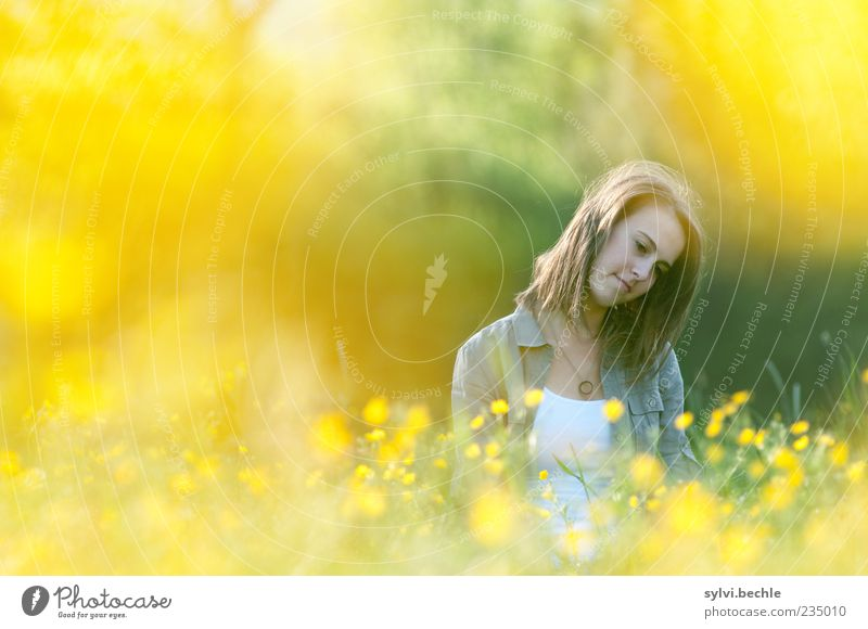 Human being Nature Youth (Young adults) Plant Summer Flower Calm Loneliness Yellow Relaxation Feminine Life Environment Blossom Sadness