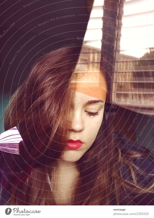 sad young woman behind the window Human being Feminine Young woman Youth (Young adults) Woman Adults Authentic Natural Cute Beautiful Gloomy Self-confident