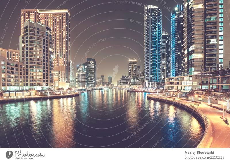 Dubai Marina at night, United Arab Emirates. Vacation & Travel Lifestyle Building Business Tourism Living or residing Flat (apartment) Office Modern High-rise