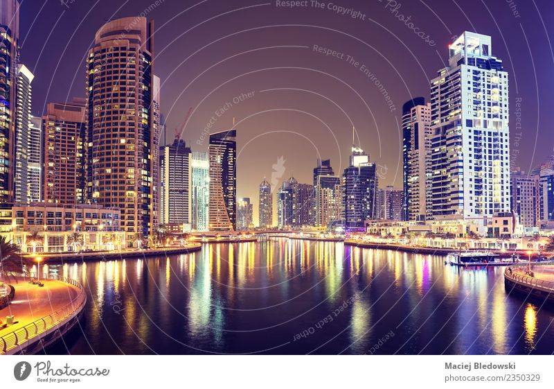 Dubai Marina at night, United Arab Emirates. Vacation & Travel House (Residential Structure) Architecture Building Business Tourism Living or residing