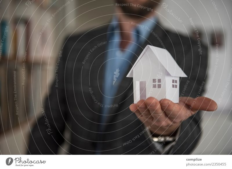 Man holding paper house on hand Vacation & Travel Construction site Energy industry Adults House (Residential Structure) Detached house Dream house Hut Build