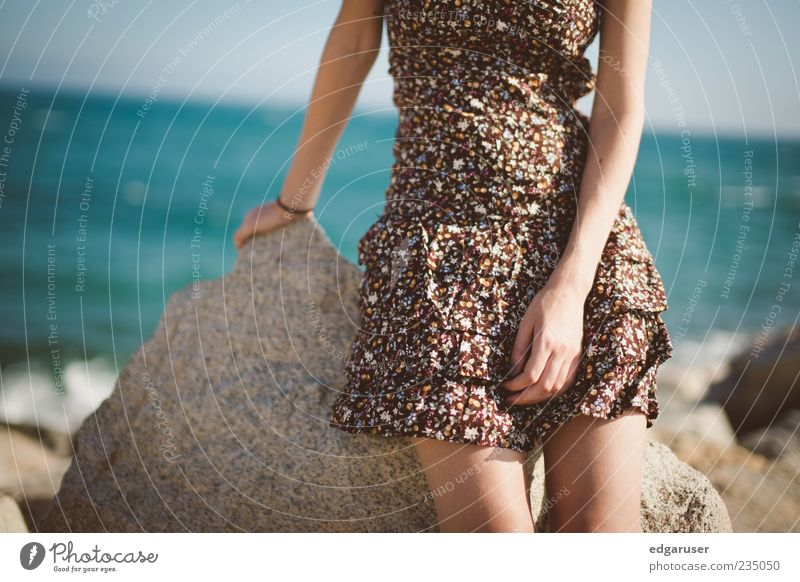 Youth (Young adults) Blue Beautiful Sun Ocean Summer Beach Calm Feminine Freedom Coast Stone Style Fashion Dream Brown