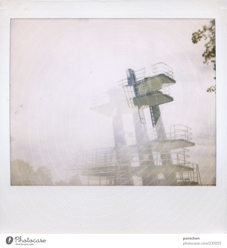 200! Euphoria Fear Springboard Double exposure Brave Colour photo Subdued colour Exterior shot Polaroid Day Sporting Complex Swimming pool Fog Hazy Deserted