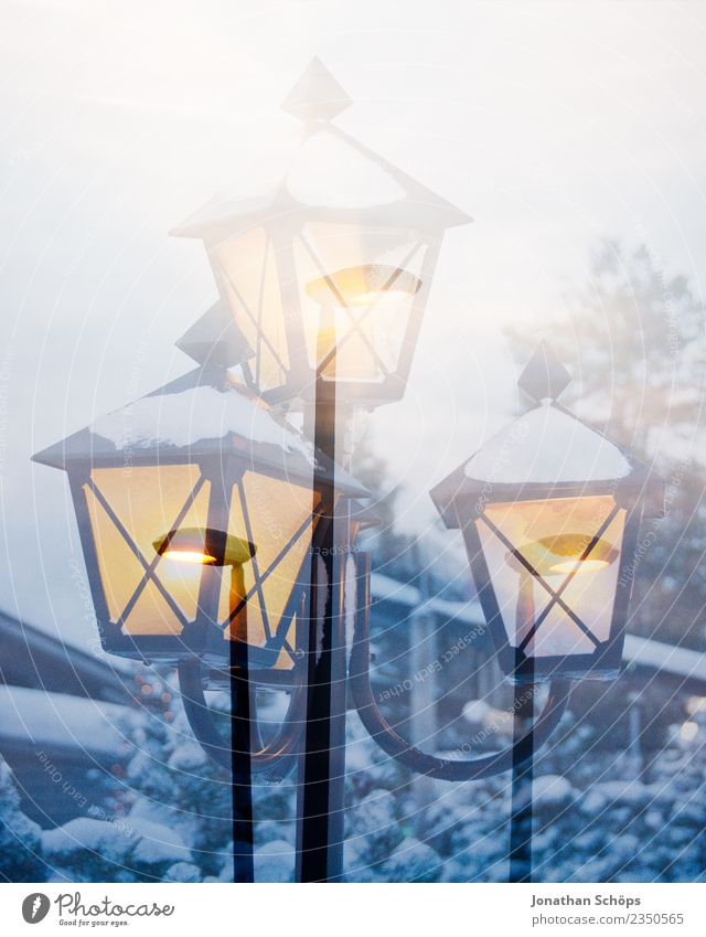 Nature Vacation & Travel Christmas & Advent Winter Environment Cold Sadness Snow Moody Snowfall Dream Weather Street lighting Tradition Double exposure