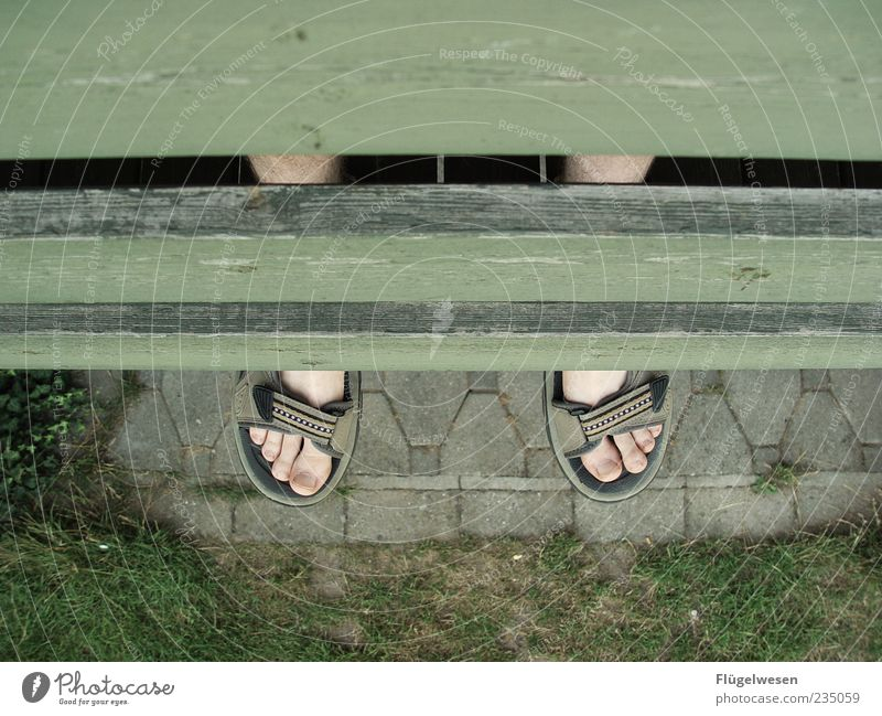 balkonies Lifestyle Beautiful Summer Legs Feet Safety (feeling of) Happy Relaxation Colour photo Exterior shot Bird's-eye view Sandal Toes Chopping board