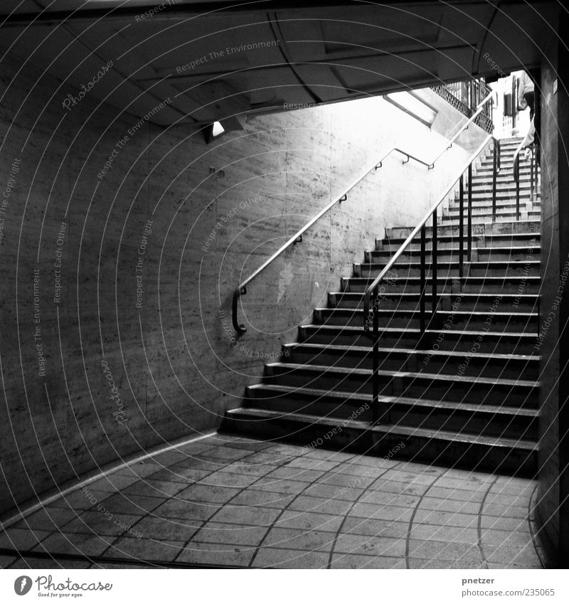 Always up! Deserted Places Train station Tunnel Architecture Wall (barrier) Wall (building) Stairs Old Dark Gloomy Black White Emotions Mobility Banister London