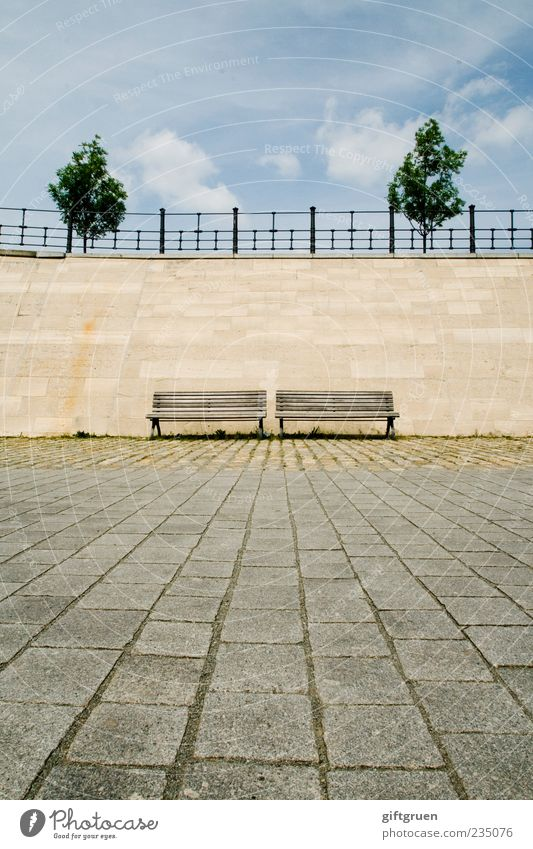 two times two Wall (barrier) Wall (building) Clean Contentment Bench Seating Park bench Tree Handrail Ground Stone floor Paving stone In pairs 2 Reduplication