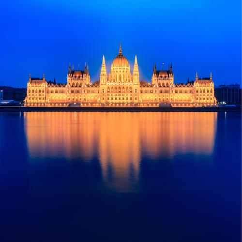 Old Blue Beautiful Architecture Yellow Facade Gold Large Historic Tourist Attraction Capital city River bank Parliament Hungary Budapest
