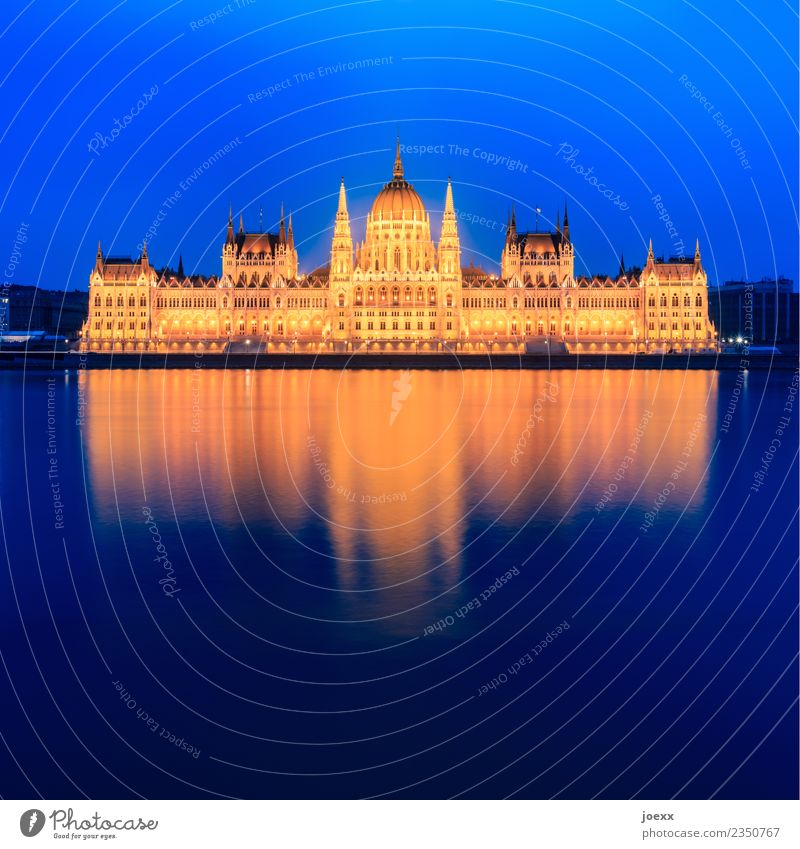 Országház River bank Budapest Hungary Capital city Architecture Facade Tourist Attraction Parliament Old Large Historic Beautiful Blue Yellow Gold Colour photo