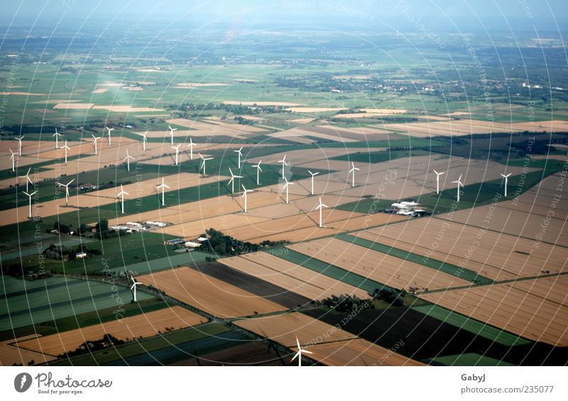 Environment Far-off places Landscape Autumn Field Climate Energy Network Clean Agriculture Infinity Wind energy plant Aerial photograph Climate change