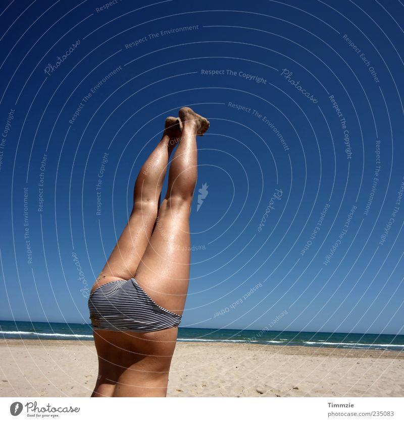up in the air II Joy Beach Ocean Yoga Feminine Young woman Youth (Young adults) Life Bottom Legs 18 - 30 years Adults Sand Sky Summer Bikini Sports Athletic