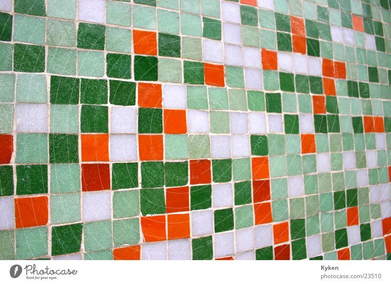 Colourful house wall Mosaic Multicoloured Green White Jewellery Architecture Tile Orange Close-up Perspective Decoration