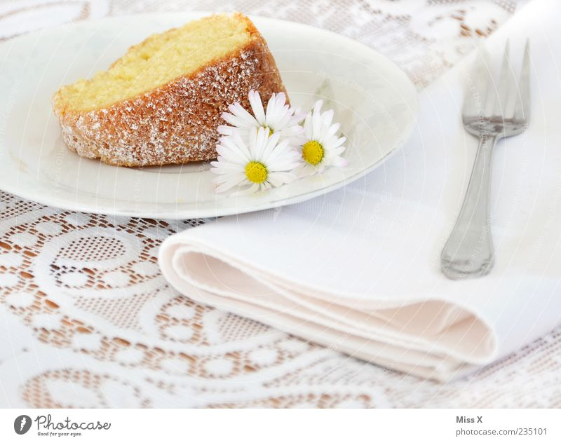 cakes Food Dough Baked goods Cake Dessert Nutrition To have a coffee Feasts & Celebrations Flower Bright Delicious Sweet White Fork Daisy Napkin Gugelhupf