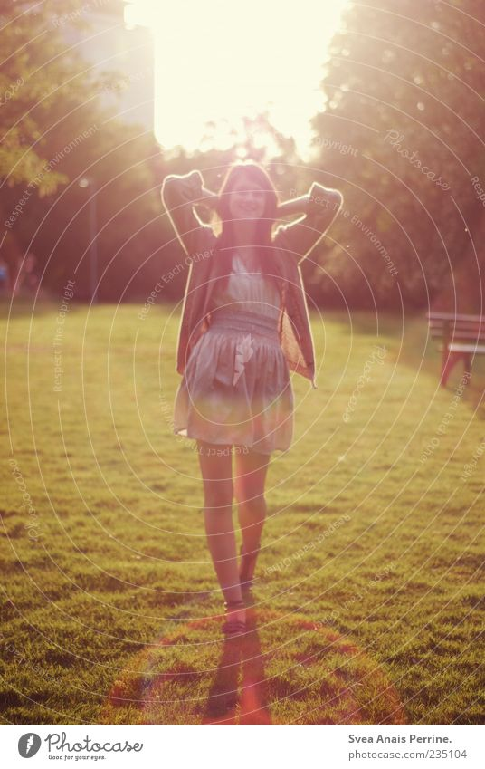 Human being Youth (Young adults) Beautiful Joy Adults Meadow Feminine Movement Garden Style Park Going Elegant Happiness Lifestyle Bushes