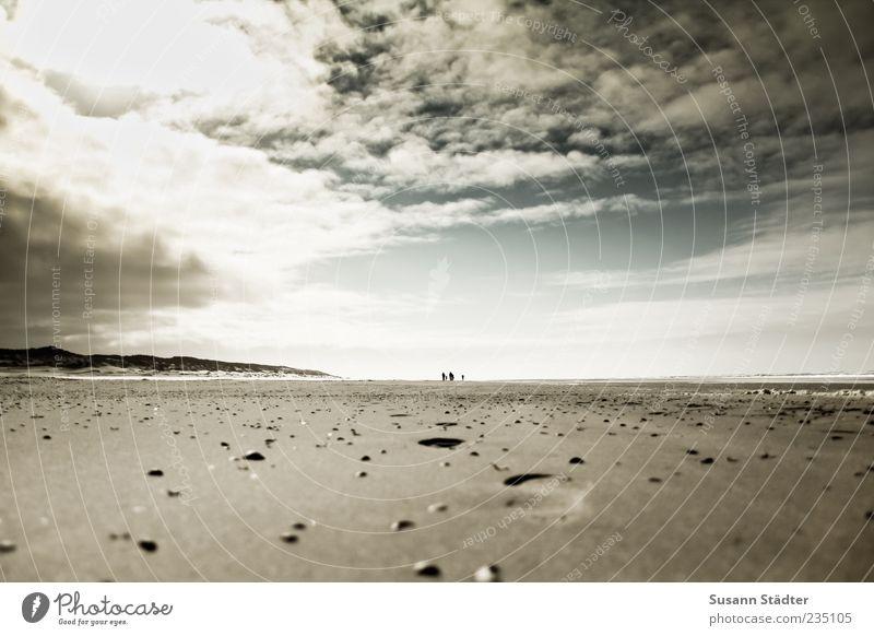 Spiekeroog sand between the toes. Earth Sand Sky Clouds Coast Beach North Sea Ocean To enjoy Shell sand Mussel Footprint Imprint Storm clouds Dark Sunbeam