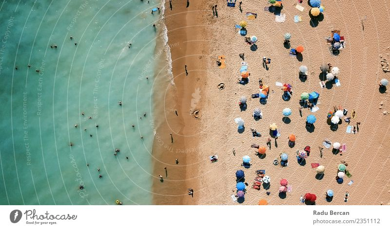 Aerial Drone View Of People On Beach In Portugal Human being Nature Vacation & Travel Summer Landscape Sun Ocean Lifestyle Environment Coast Happy