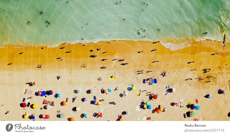 Aerial Drone View Of People On Beach In Portugal Nature Vacation & Travel Summer Beautiful Landscape Ocean Joy Lifestyle Environment Swimming & Bathing Waves