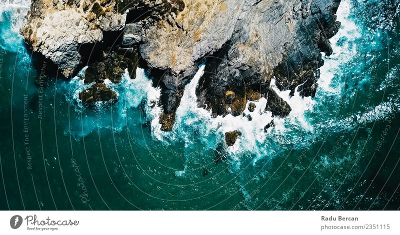 Aerial Drone View Of Dramatic Ocean Waves Crushing Environment Nature Landscape Earth Water Summer Weather Bad weather Storm Wind Gale Hill Rock Mountain Coast