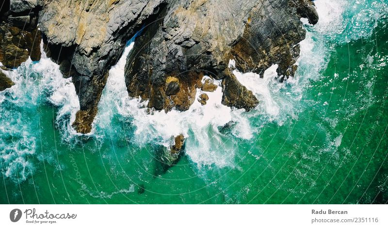 Aerial View Of Dramatic Ocean Waves Crushing In Lagos Environment Nature Landscape Earth Water Summer Hill Rock Coast Beach Bay Island Exotic Beautiful Maritime