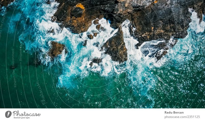 Aerial Drone View Of Dramatic Ocean Waves Nature Summer Blue Beautiful Water Landscape Beach Warmth Environment Coast Rock Earth Beautiful weather Threat